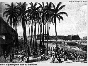 Pasar di pertengahan abad 17 di Batavia